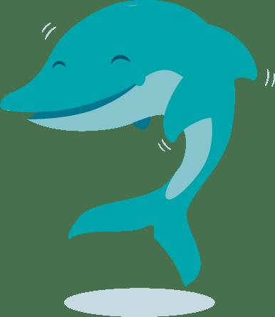Bild eines tanzenden Delphins in blau