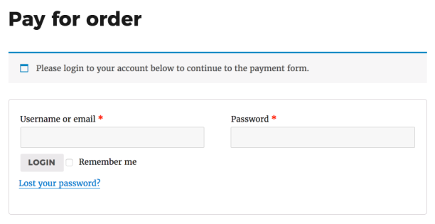 Login form for payment
